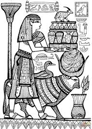 priest and sacred animals of ancient egypt coloring page free