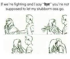 Stubborn Memes - if we re fighting and i say bye you re not supposed to let my