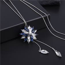 colored crystal necklace pendants images Ravimour zircon long necklace for women fashion silver color jpg