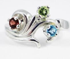 sterling silver mothers rings blue topaz peridot garnet s ring sterling silver