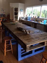 table de cuisine en palette pallet modern kitchen table palettes peintes couleurs claires