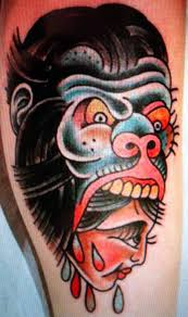 traditional gorilla tattoos than the referenced tattoo