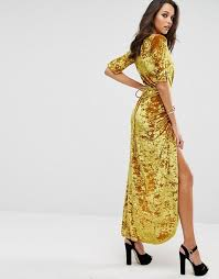 boohoo boohoo velvet wrap maxi dress