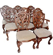 set of eight shield back dining chairs by collezione europa ebth