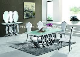 marble and stainless steel dining table china modern audi marble top tempered glass top stainless steel
