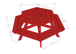 Octagon Patio Table Plans White Hexagon Picnic Table Diy Projects