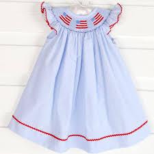 Flag Dress Smocked Flag Angel Sleeve Dress Light Blue Gingham Smocked Auctions