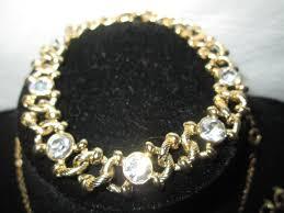 rhinestone necklace set images Vintage retired mimco jewelry set australia beautiful gold tone jpg