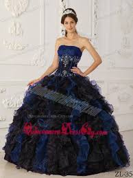 and black quinceanera dresses blue and black gown strapless taffeta and organza beading