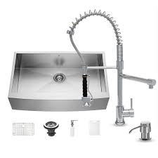 Home Depot Faucets For Kitchen Sinks by Vigo All In One Farmhouse Apron Front Stainless Steel 36 In