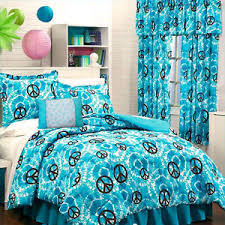 Tie Dye Bed Set Blue Turquoise Peace Sign Tie Dye Comforter Set Valance