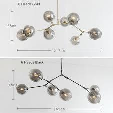 Glass Bubble Chandelier 3 5 6 8 Heads Black Gold Glass Bubble Chandelier Light Fixture