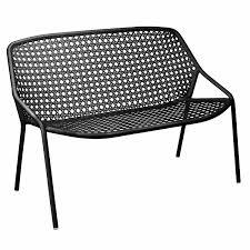 garden bench contemporary aluminum with backrest croisette