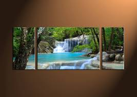 triptych blue waterfall ocean canvas art prints