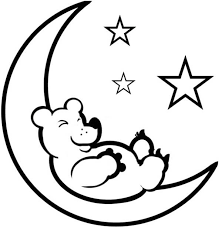 teddy bear sleep moon coloring coloring sky