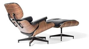 style lounge chair and ottoman black leather walnut wood replica