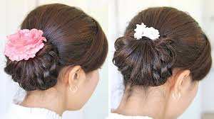 updo hairstyle for medium length hair homecoming knotted hair bun updo hairstyle for medium hair