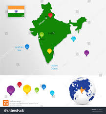 Blank Image Of India Map by New India Map Pin Marker Location Stock Vector 211182313