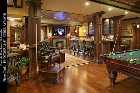 Pub Bar Table Pub Bar Fireplace And Pool Table Traditional Basement New