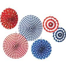 paper fan circle decorations red white blue assorted paper fan decorations 6ct party city com