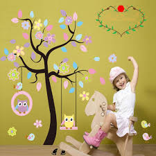 charming art colorful tree decals with hanging owl diy wall decor charming art colorful tree decals with hanging owl diy wall decor pink owl wall sticker owl wallpaper for kids room reusable stickers by lacedecal