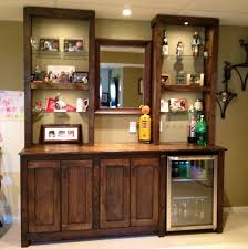 furniture glass shelves with wet bar cabinets and wall decor plus