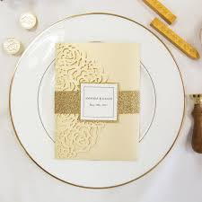wedding invitations glitter luxury pale gold glitter laser cut pocket wedding invitations