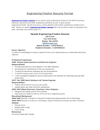 standard resume format for freshers it resume cover letter sample