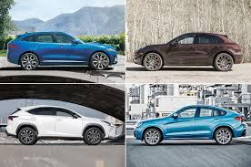 lexus suv vs bmw suv styling size up jaguar f pace vs bmw x4 porsche macan lexus nx