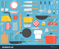 kitchen tools set kitchenware collection lots stock vector