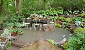 Water Rock Garden Architecture Rock Garden Ideas With White Chairs Also