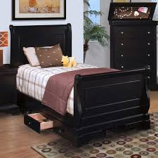 twin sleigh bed cherry combine with books storage underneath white