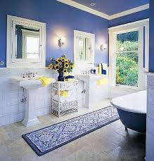 blue and white bathroom ideas more space in the bath the two pedestal sinks in this 1908