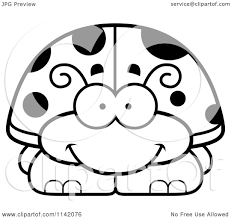 cartoon clipart of a black and white happy ladybug vector