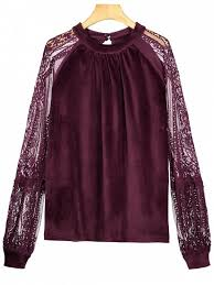 velvet blouse cut out lace panel velvet blouse purplish blouses s zaful