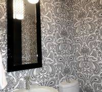 powder room wallpaper ideas powder room transitional with black