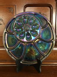 glass egg plate vintage 1960 s iridescent indiana glass tree of deviled