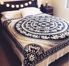 Elephant Home Decor Home Accessory Blue Black White Elephant Cover Blanket Tapestry