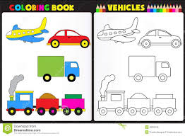 coloring book vehicles stock vector image 39008109