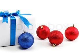 Christmas Decorations Blue Bows by White Gift Box With Blue Ribbon Bow And Christmas Balls Around