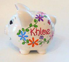 Personalized Silver Piggy Bank Personalized Large Piggy Bank Butterfly By Kutekustomkreations