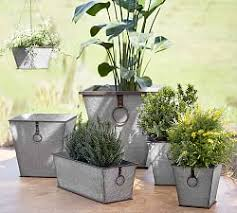 Tall Galvanized Planter by Patio U0026 Outdoor Planters Pottery Barn