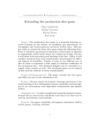 PDF Extending the production dice game