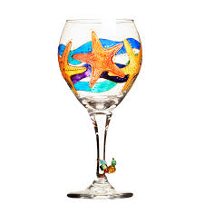 starfish wine glass painted custom wine glasses design