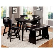 IoHomes Pc Triangular Open Shelf Counter Dining Table Set Wood - Countertop dining room sets