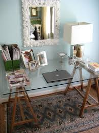 sawhorse glass table in dining room because it s ridiculously er and not that difficult matters of style ikea diy brass sawhorse desks