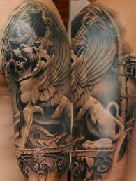 black and grey ancient greek tattoo sleeve by darwin enriquez