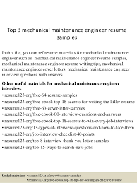 Maintenance Resume Examples by Top 8 Mechanical Maintenance Engineer Resume Samples 1 638 Jpg Cb U003d1432128309