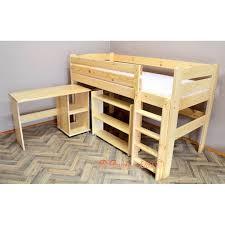 lit surélevé avec bureau lit mezzanine surélevé combiné avec bureau et commode 200x90 cm