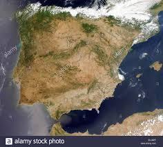 Iberian Peninsula Map Satellite Image Of The Iberian Peninsula Spain And Portugal Stock